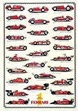 Empire Educational 536532 - Poster con stampa delle monoposto Ferrari da Formula 1, 68 x 98 cm
