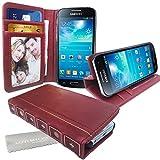 Stylebitz / Étui vintage, classique, rétro, en cuir PU avec pied de support pour Samsung Galaxy S4 Mini / i9190 avec chiffon de nettoyage Stylebitz (rouge bourgogne)