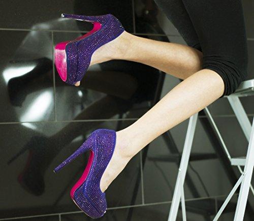 ROSELIGHT Crystal Peep Toes in Schwarz Rot Blau Türkis Gold Violette mit Rosa Sohle Schwarz Perlem