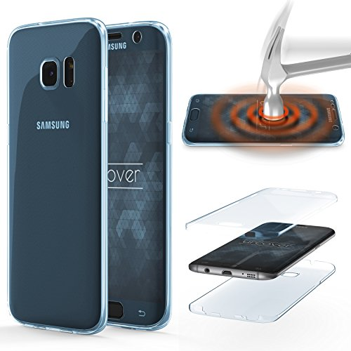 Urcover TPU Ultra Slim 360 Grad Hülle kompatibel mit Samsung Galaxy S6 Edge Plus Schutz-Hülle in Blau | Handy-Cover R&um Case Dünn Schale