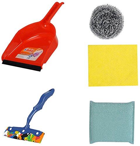 Gala 5 Piece Dustpan with Steel Scrubber, Kitchen Moppy, Kitchen Scrubber and Kitchen Wipe Combo Set (Assorted)