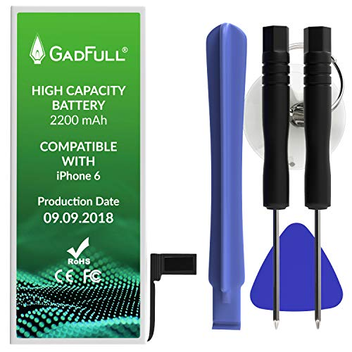 GadFull Batteria ad Alta Capacità compatibile con iPhone 6 | 2018 Data di produzione | incl. Set di riparazione manuale & Kit strumenti Profi | Nuova Batteria Cellulare Extra