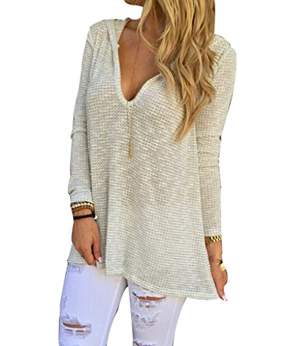 WANGSAURA Women Long Sleeve Loose Knitted Pullover Sweater Hooded Knitwear Outwear Tops
