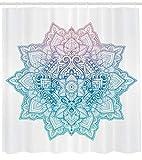 Abakuhaus Duschvorhang, Böhmische Tattoo Stil Zen Pastell Getönten Mandala Abstrakte Lotus Blume Design Druck Umbra, Blickdicht aus Stoff mit 12 Ringen Waschbar Langhaltig Hochwertig, 175 X 200 cm