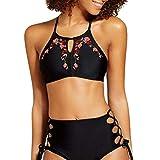 Damen Bikini Rosennie Frauen Sexy Push-Up Padded Bra Beach Badeanzug Elegant Mode Druck Bademode Reizvolle Neckholder Rückenfrei Gepolstert Hoher Taille Zweiteilig Strandmode Swimwear (S, Schwarz)