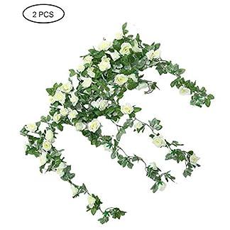 evaclarly Guirnalda Artificial,2 Unidades Vid de Flor de Seda Flores Artificiales Guirnalda de Rosas Artificiales para el día de San Valentín Boda Fiesta Arte Decoración navideña, Blanco lechoso