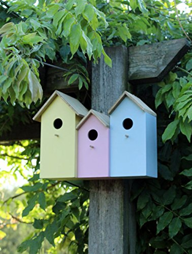 garden mile® Colourful Novelty 3 In 1 Garden Bird Houses Highly Detailed Predator Proof Bird Nesting Boxes For Small… 7