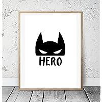 Kinderposter Kinderzimmerbild mit Spruch HERO und Batman Maske - Jungen - Geschenkidee zur Geburt, Taufe, Geburtstag, Kinderzimmer Wandbild, skandinavisch - ungerahmt