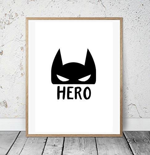 immerbild mit Spruch HERO und Batman Maske - Jungen - Geschenkidee zur Geburt, Taufe, Geburtstag, Kinderzimmer Wandbild, skandinavisch - ungerahmt ()