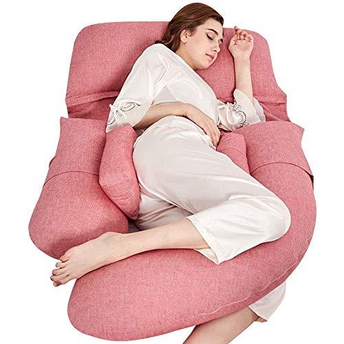 skissen, U-förmiges Mutterschaftskissen for Schwangere mit Baumwollkörperkissen Waschbarer Baumwollkissenbezug (Color : Pink) ()