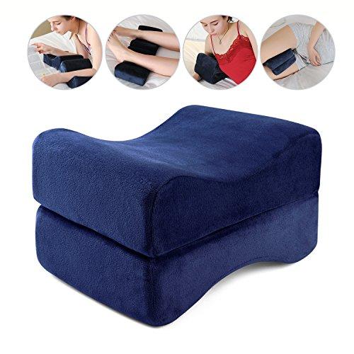 HANKEY Memory Foam Schaum Beinkissen | Orthopädisches Kniekissen für Hüfte, Bein, Knie, Rücken | Ergonomisches Kissen für Schwangerschaft & Seitenschläfer | Waschbarer Bezug, dunkelblau