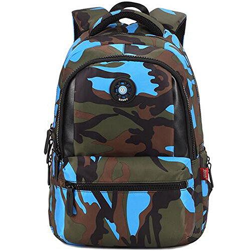 Medium Rucksack Schule (Comfysail Camouflage Gedruckt Unisex Schulrucksack Rucksäcke Freizeitrucksack für Reise Wandern Camping Schule Bergsteigen Wandern (Blau, Medium))