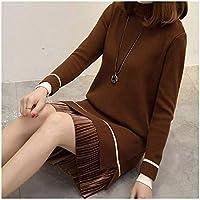 SHUCHANGLE Otoño Invierno Mujer Tejer Falso 2 Piezas De Cuello Alto De Rayas De Punto Vestido De Suéter Flojo Caliente Señora Más Tamaño, Marrón Oscuro, XL