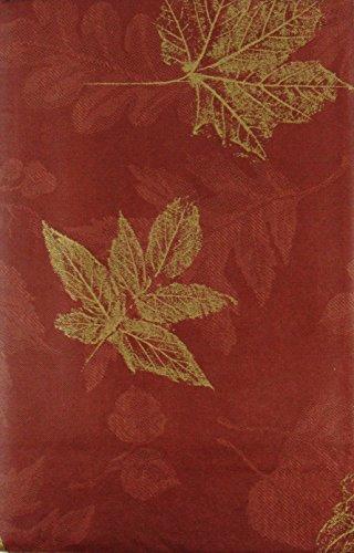 mit Radierungen von Gold Flake Blätter auf verschiedene Farben Vinyl Tischdecke Flanell Rückseite, Vinyl, Rustic Red, 52