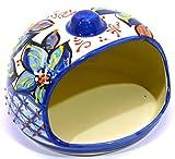 Art Escudellers PORTA SPUGNA in ceramica fatto e dipinto a mano con decorazione flor 15 cm x 15 cm x 11 cm (FLOR MARINA AZUL)