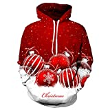 Yvelands Soldes Couple l'hiver De NoëL ÉLéMent 3D Impression À Capuche Top Sweat-Shirt Chemise Blouse Sweat-Shirt Sweater Maillot Tricot Chandail Pull(rouge2,XXLarge)...