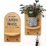 margueras Akkus Wandregal aus Holz/Briefhalter, Buchstaben und Schlüssel für Büro, Eingang, Küche–Wandhalterung