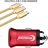 Mahindra Scorpio Compatible Car Charger 3.1A Dual Port Car Charger With 3 In 1 Pure Nylon Usb Cable| High Speed Rapid Fast Turbo Metal Android & Tablets Car Mobile Charger With Micro USB Cable (Random Color)