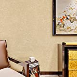 Hanmero Modern Fashion Elegant Solid Printing Non- woven Paper Wallpaper in Wallpapers 20.86 inches by 393 inches for Living Bedroom Home Decor (Yellow)