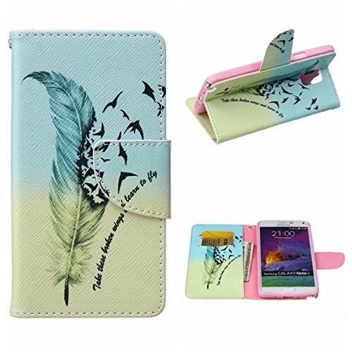 MOONCASE Galaxy Note 4 Hülle, [Fly Feather] Muster Schutzhülle Leder Tasche Brieftasche [Stoßdämpfende] TPU Case mit Standfunktion und Karte Halter für Samsung Galaxy Note 4