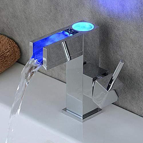 Led rubinetto miscelatore lavabo controllo della temperatura lavello a cascata,adatto per lavabi e bagni,pwtchenty