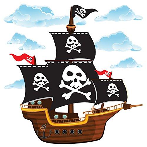 GET STICKING DÉCOR® Piraten Piratenschiff Wandtattoo, Wandsticker Kollektion, CartoonShip Pship.3, Glänzend Herausnehmbar Vinyl, Multi Farbe. (Hut Piraten Filz)