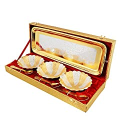 Jaipur Ace Rajasthani Handicraft Silver And Gold Plated Brass Bowl Set (3 Bowl: 3 Spoon: 1 Tray)