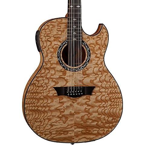 Dean Guitars Dean manifestazione trapuntato, 12 corde, cassa sottile, Ash-Chitarra elettroacustica con Aphex, colore naturale Gloss sistema, colore: marrone