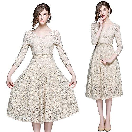 AJOG Frauen Vintage Floral Lace Swing Kleid V-Ausschnitt Hohe Taille 3/4 Bell Ärmeln Party Abend Hochzeit - Lange Bling Prom Kleider
