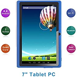 Haehne 7 Pouces Tablette Tactile, Google Android 4.4 Quad Core Tablet PC, 512Mo RAM 8Go ROM, Double Caméras, WiFi, Bluetooth, Bleu