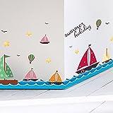 ALLDOLWEGE Die Schlafzimmer sind modern herausnehmbare Mauer - Meer segeln kinder cartoon Sockelleisten Linie gegen die Fliesen im Bad Poster Fries, Segeln Schiffe auf See.