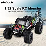 Enlarge toy image: Virhuck 1:32 Scale Rc Monster Truck, 2.4GHZ 2WD Radio Remote Control Buggy, 20km/h Big Wheel Off-Road Vehicle - Black