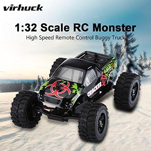 Virhuck 1:32 Escala RC Monster Truck  2.4GHz 2WD  Radio Control Remoto Buggy Gran Rueda Vehículo Todo Terreno   Negro