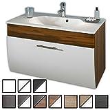 Waschtisch Set Zettel Walnuss-weiß (Waschbecken mit Waschbeckenunterschrank) Breite 90 cm, für Gäste-WC, Form recht-eckig, hängend, unten abgerundet, 1 Schublade breit, hochglanz
