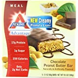 Atkins - Pack de 5 Barres Chocolatées au Beurre de Cacahuète (Advantage Chocolate Peanut Butter Bar) - 60 g de chaque