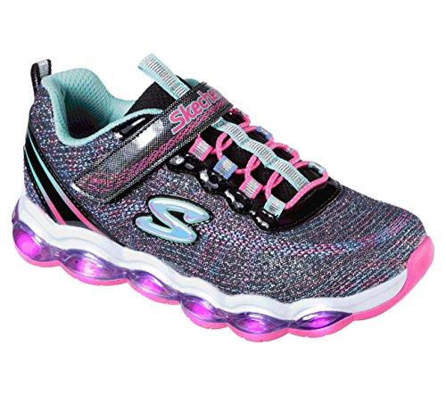 Skechers kids girls' glimmer lights sneaker, black/multi, 11.5 m us little kid