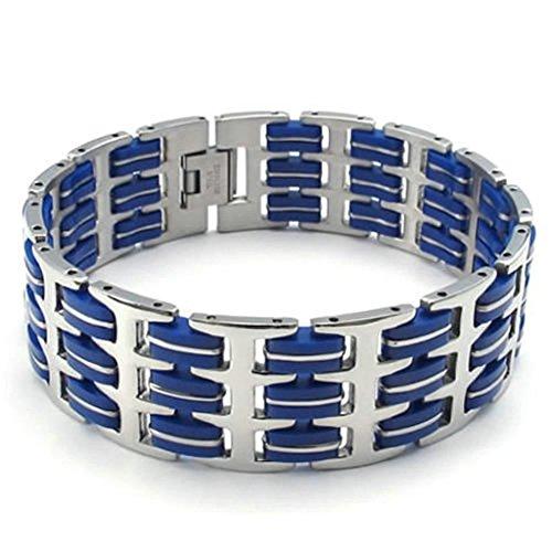 Daesar Edelstahl Armband Herren Link Armbänder Silberarmband für Herren Länge:Blue 8.5 (Kostüme Indianer Navajos)