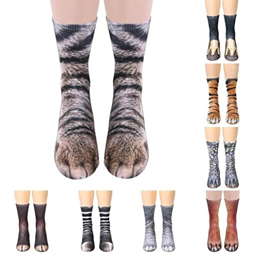 Toamen Novelty Socks, 6-12 Years Old Children Kids Lifelike Animal Paw Sublimated Print Crew Socks, Polyester Rich, Comfortable, Breathable, High Performance Thermal Socks