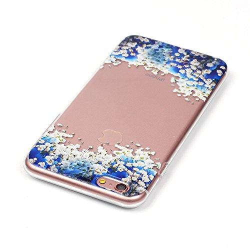 Coque iPhone 6S Plus, Étui iPhone 6 Plus, iPhone 6S Plus / iPhone 6 Plus Case, ikasus® Coque iPhone 6S Plus / iPhone 6 Plus Gaufrer Étui TPU coloré en couleur Silicone Étui Housse Téléphone Couverture Fleur bleue et blanche