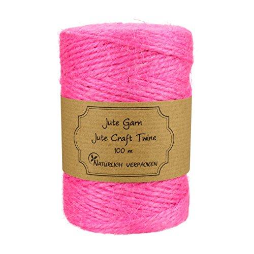 00 m, rosa Juteschnur aus reiner Jute zum Basteln, Binden, Verpacken und Dekorieren für Schachteln, Geschenke, Hängeetiketten, Geschenkanhänger (Dekorieren Sie Office Für Halloween)