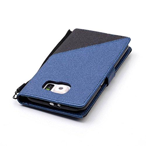 Coque Galaxy S6,Etui Galaxy S6,Surakey Samsung Galaxy S6 Cuir PU Housse à Rabat Portefeuille Étui Flip Case Folio à Clapet Stand de Fermeture magnétique, Noir+Bleu