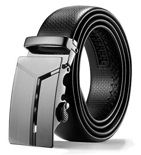ITIEZY Herren Gürtel Ratsche Automatik Gürtel für Männer 35mm Breit Ledergürtel, Schwarz 102, Länge: Bis zu 49,21 Inches (125cm) - Breite Gürtel