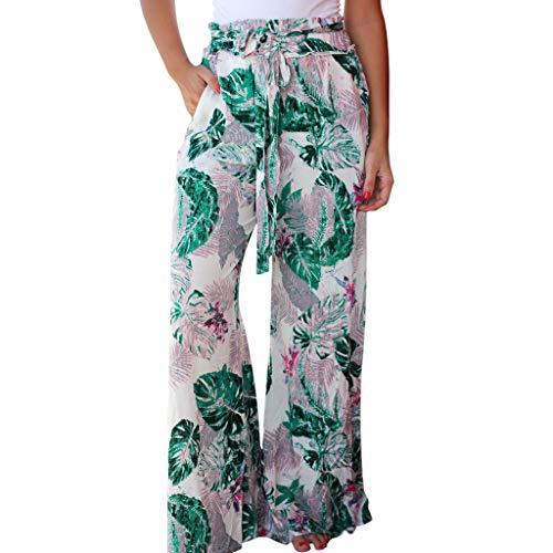 Frauen-Sommer-Taschen-Blätter, die Kordelzug-breite Bein-Hosen-Gamaschen drucken -