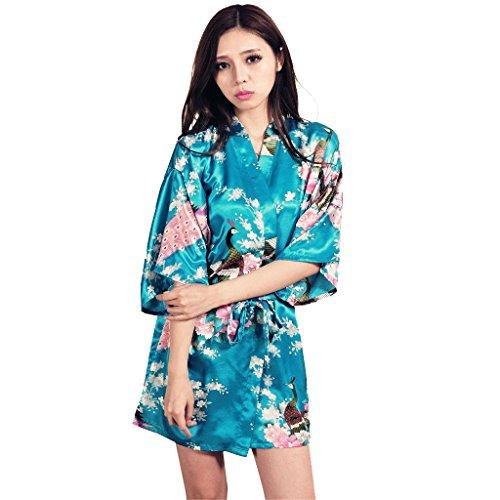 Honeystore Damen Morgenmantel glatte Satin Nachtwäsche Bademantel mit Peacock und Blume Kimono Negligee Seidenrobe Schlafanzug Blau S (Günstige Yukata Kostüm)