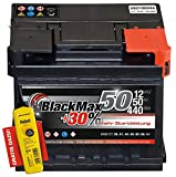BlackMax+30% - 12 V / 50 Ah - 440 A/EN Autobatterie KFZ PKW Batterie inkl. Polfett