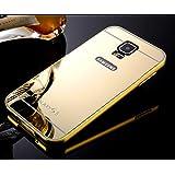 Samsung Galaxy S5Funda de Espejo, Ultra Delgado Panel Trasero de Aleación de aluminio metal enchapado electroplate Bumper Duro Carcasa para Samsung Galaxy S5, metal, dorado, Samsung Galaxy S5