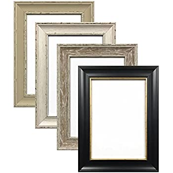 A1 BLACK ( MATT FINISH) WITH GOLD INLINE SHABBY CHIC FRAMES LARGE ...