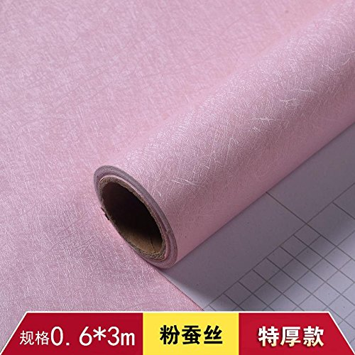 ZCHENG The Simple Self-Stick Wall Paper Glue Surface Wallpaper Pvc Wallpaper Waterproof Wallpaper Self Adhesive 3M A Roll Of Green On White, Pink Silk Width 61 Cm [3],548816 -