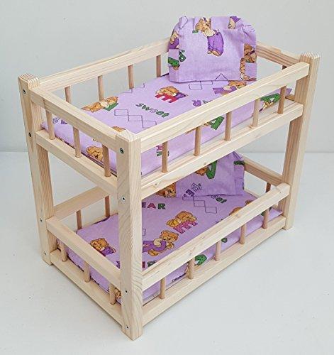 Giocattolo di legno letto a castello per 2 bambole, montare bambole misura 14