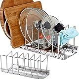 Organizador de sartenes y tapaderas – Soporte de metal cromado con 6 compartimentos para sartenes y tapas de ollas – Organizador de cajones y armarios de cocina